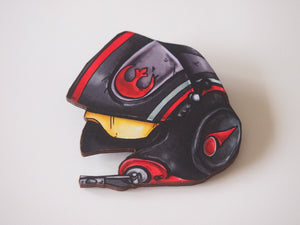 Poe Dameron Fighter Pilot Helmet - Star Wars - Laser Cut Wood Brooch
