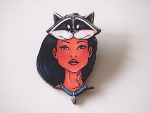 Hunted Pocahontas and Meeko - Laser Cut Wood Brooch