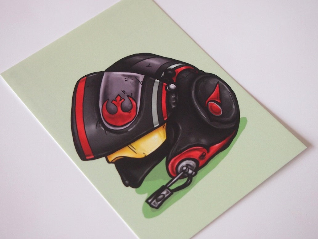 Poe Dameron Rebel Alliance Fighter Pilot Helmet - Star Wars - Postcard