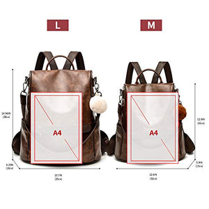 Women Backpack Purse PU Leather Anti-theft Casual Shoulder Bag Fashion Ladies Satchel Bags(Brown)