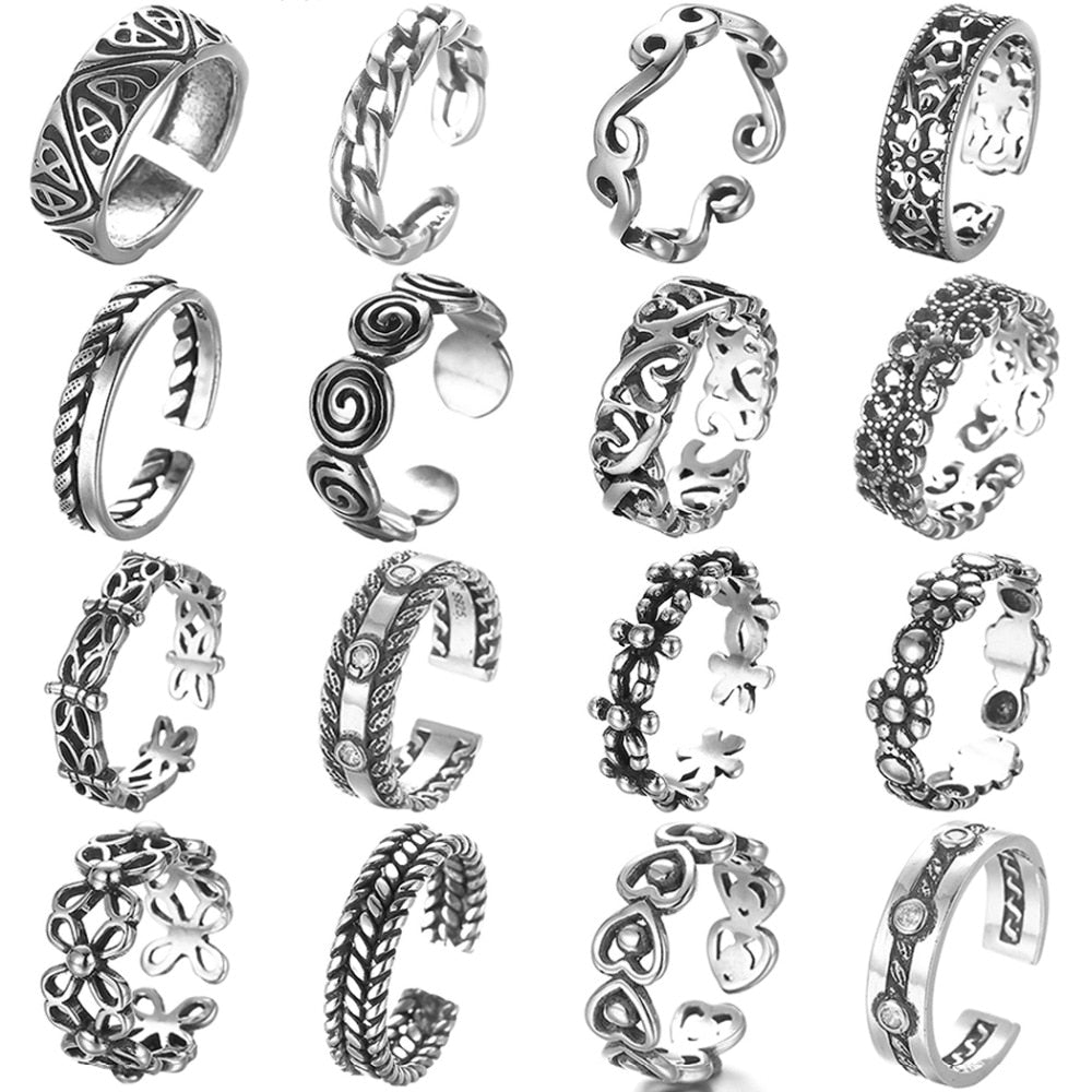 Handmade Antique Beach Punk adjustable Rings Vintage for Women