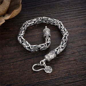 Real 925 Sterling Silver Dragon Bracelet for Men Male Vintage Heavy Bangles Bracelets