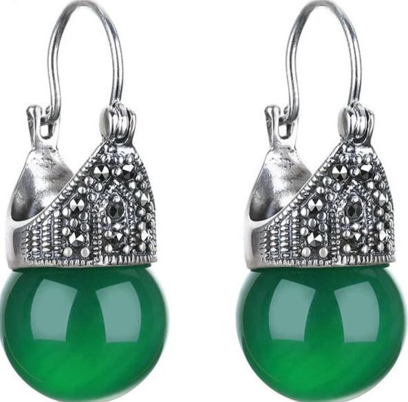 Classic Silver Natural Green Stone Earrings for Women 100% 925 Sterling Silver Fine