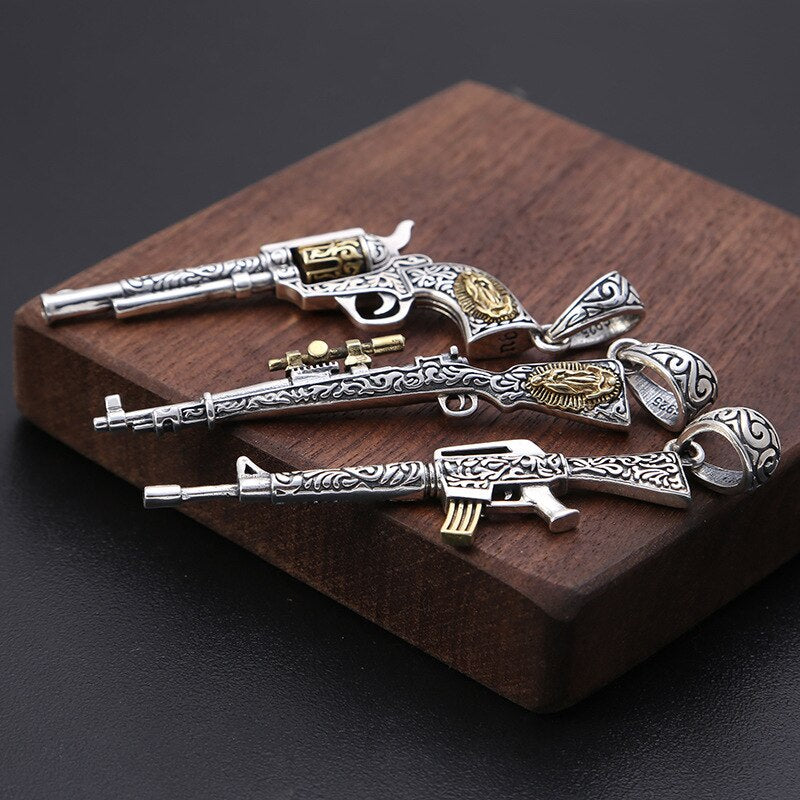 100% Real 925 Sterling Silver Vintage Gun Pendant Men Necklace