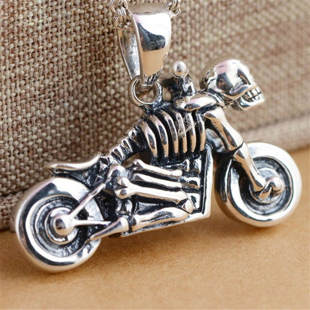 Men's Pendants Necklaces 925 Sterling Silver Motorcycle & Skulle