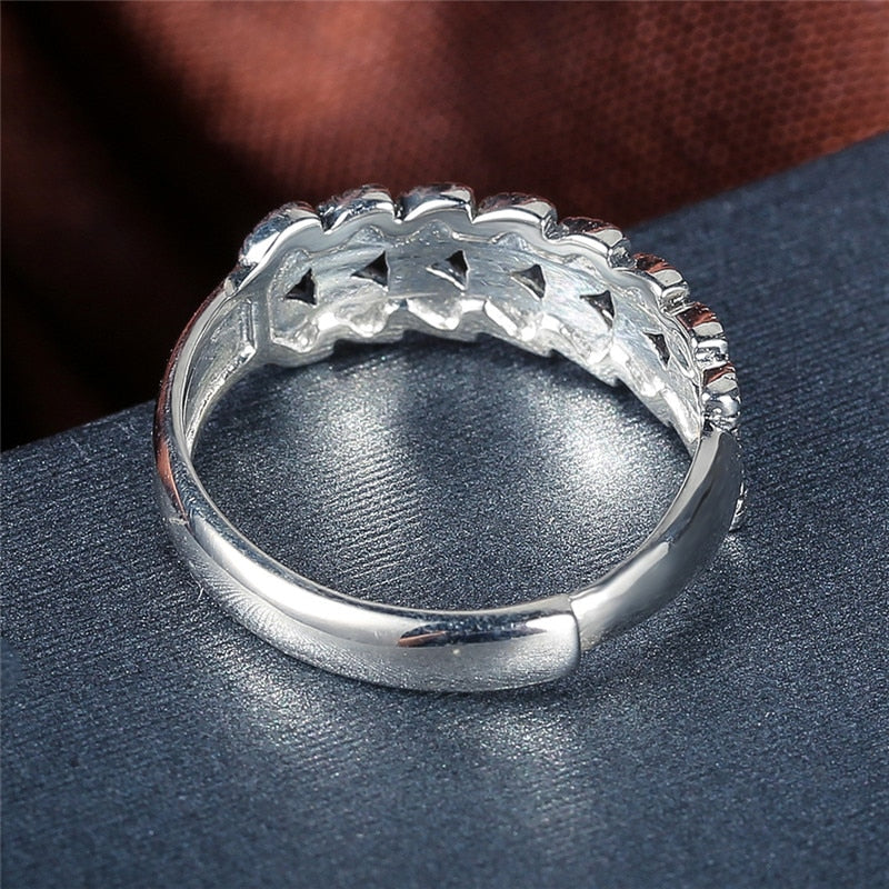 Luxury 925 Sterling Silver Marcel Stone Ring Adjustable Silver Ring For Women