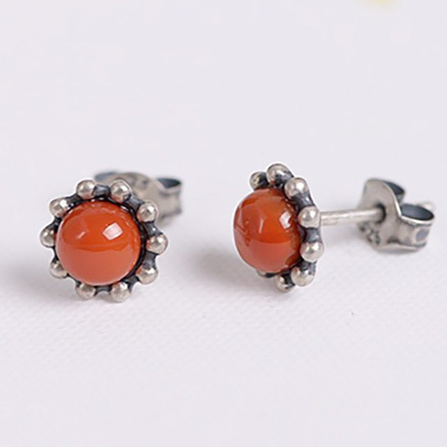 100% 925 Sterling Silver Earrings For Women Retro Round Natural Stones