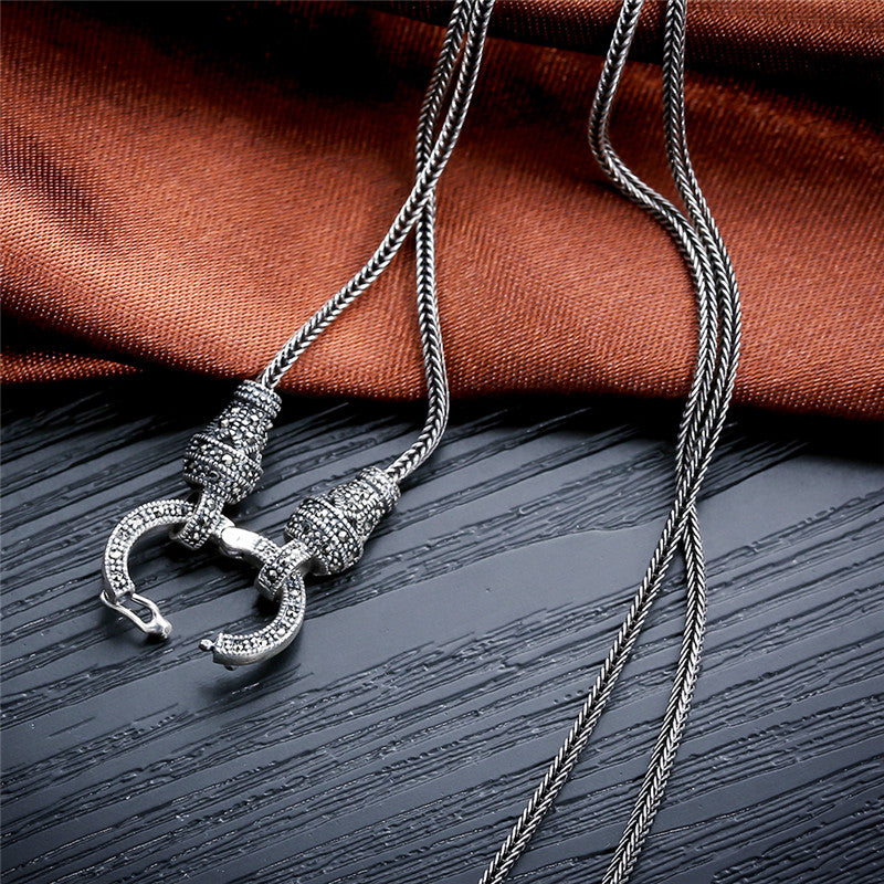 Handmade Silver Long Chain Necklace for Women 925 Sterling Silver Marcasite Stone