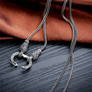 Silver Long Chain Necklace for Women 925 Sterling Silver Marcasite Stone