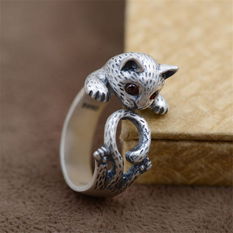 100% Real handmade 990 Sterling Silver Cat Ring Vintage Thai Silver Animal Cat Rings For Women