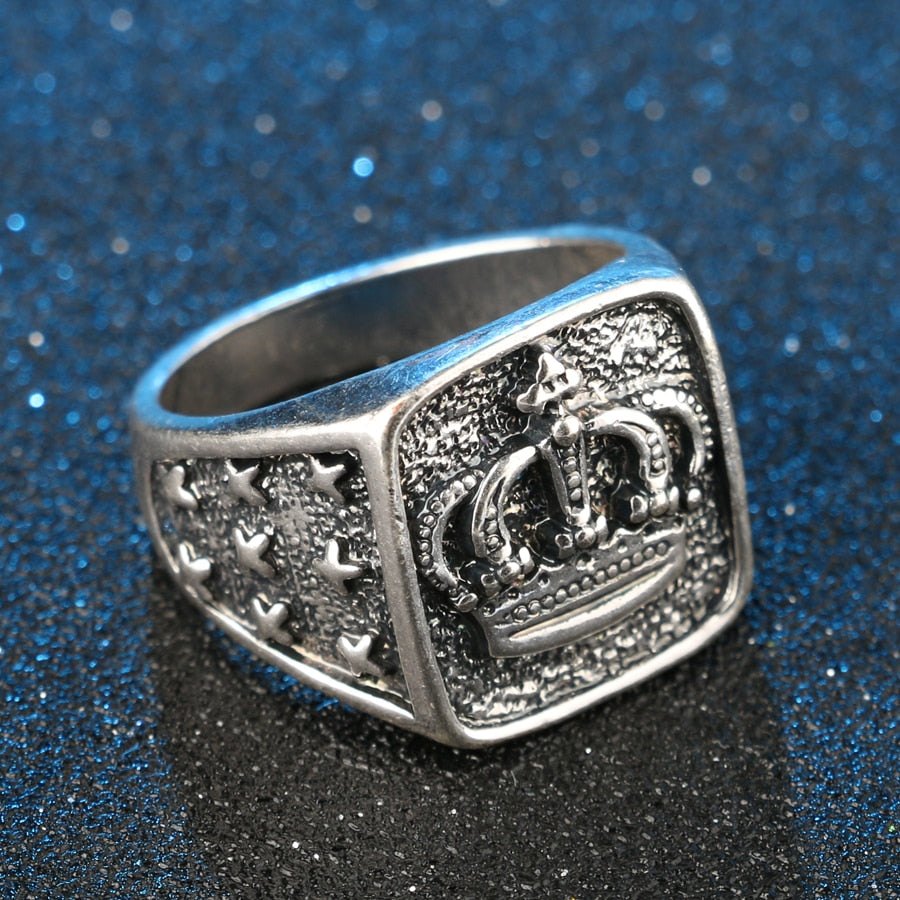 Fashion Star Cross Crown Ring Men Accessories Vintage