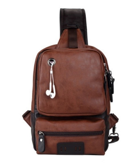 Vintage PU Leather Men Chest Backbag Casual Fashion Male Messenger BackPack