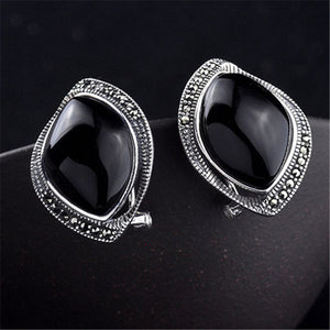 Red/Black Stone Earrings Ear Clip 925 Sterling Silver Earrings for Women Luxury Semi-precious Stone