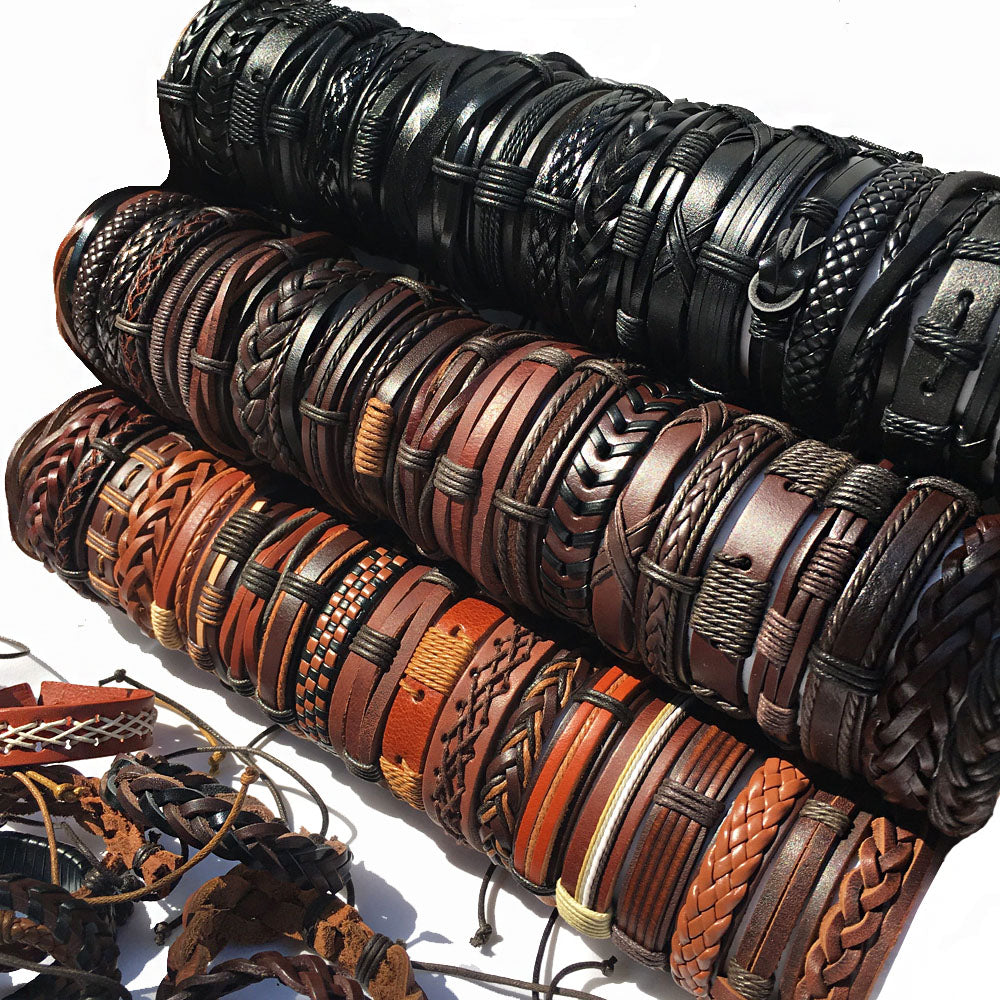 Handmade 10PCS/lot (Random 10pcs ) Mix Styles Braided Bracelets Or 6pcs Leather Bracelets For Men Wrap Bangle Party Gifts