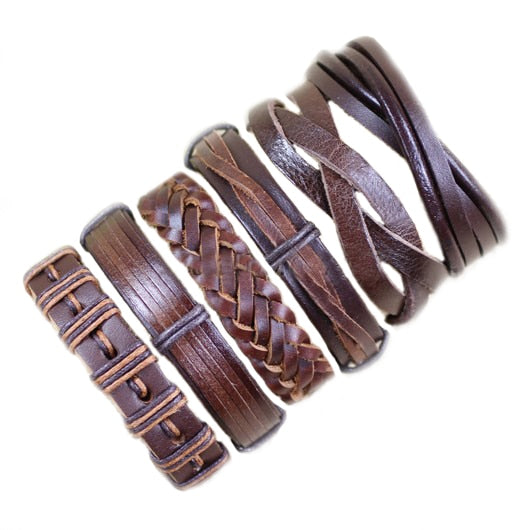 Handmade 10PCS/lot Mix Styles Braided Bracelets Leather Bracelets For Men