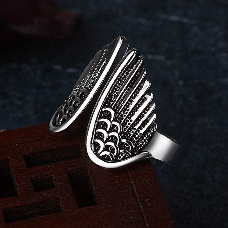Silver Angel Wings Open Ring Cool High Quality Creative Finger Ring For Women.