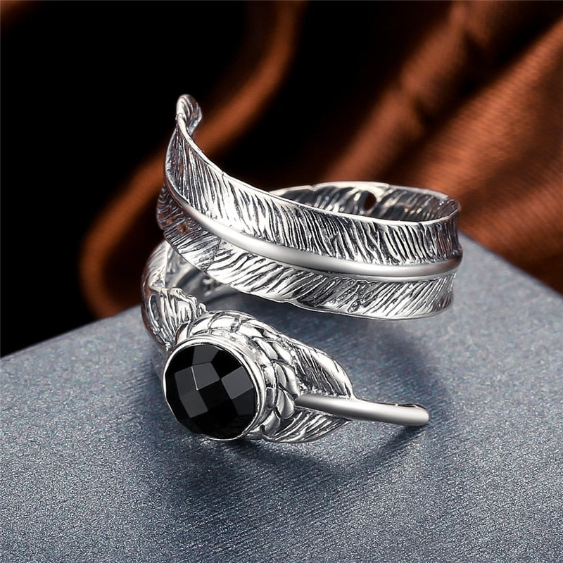 Black Onyx Stone 925 Sterling Silver Open Ring for Women