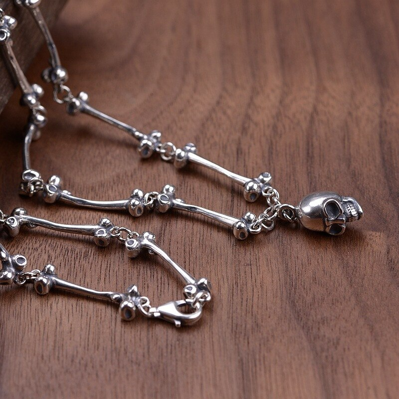 Skull Pendants Necklaces 925 Sterling Silver Long Chain Necklace for Men