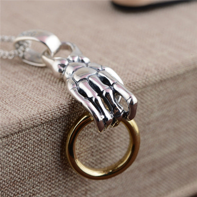 925 Sterling Silver Pendants Hyperbole Skeleton Hand Male Men's Pendant