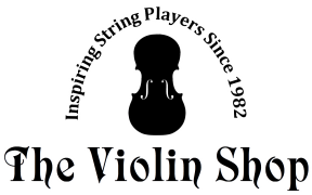 violin shop logo violin with arched tag line