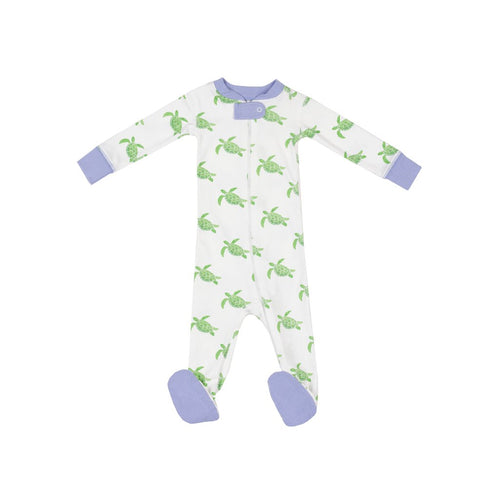 Sea Turtle Footie Blue Trim