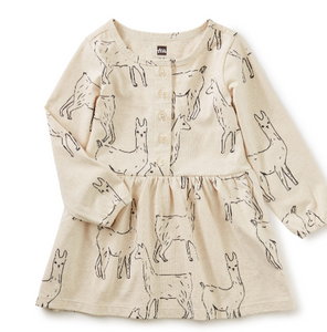 Button Front Baby Dress Llama Love