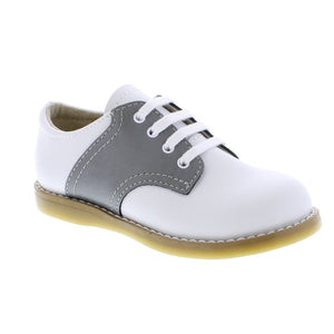 Footmates Cheer White/Gray Saddle Oxford