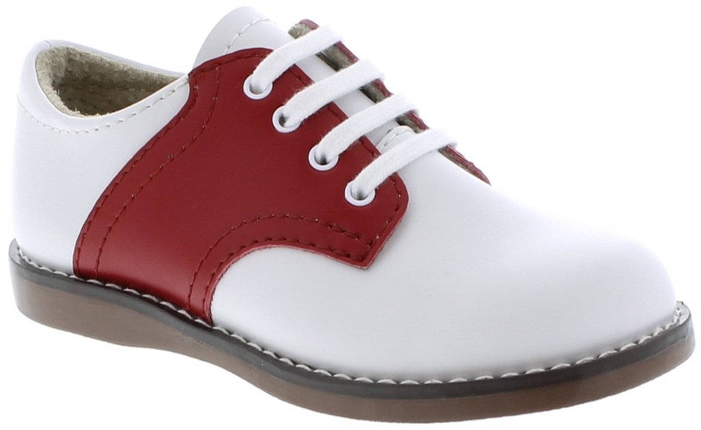 Footmates Cheer White/Apple Red Saddle Oxford