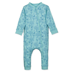 Zipper Aqua Romper Deer & Appletrees