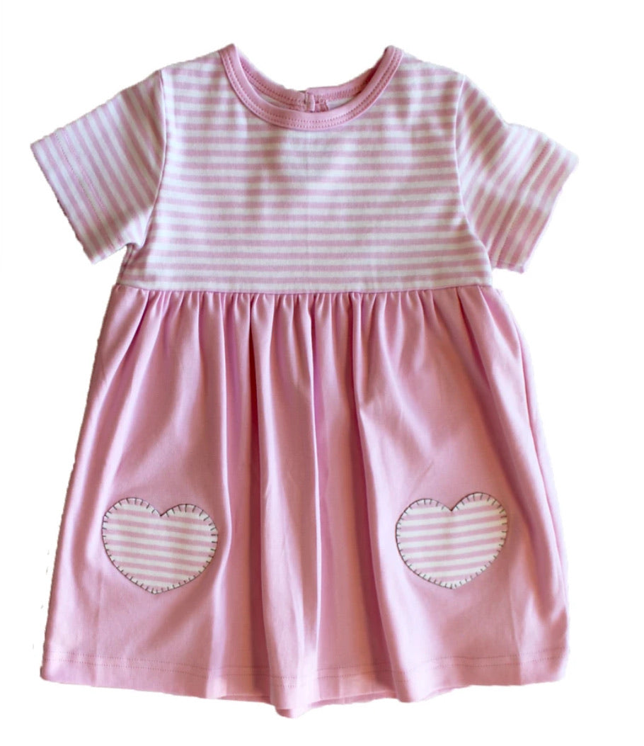 Toddler Girl Pink Stripe  Dress With Hearts