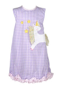 Purple Plaid Sleeveless Unicorn Dress