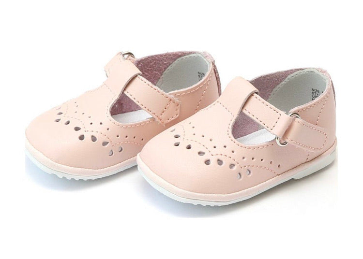 Angel Shoes Baby Birdie Leather T-Strap Stitched Mary Jane, Pink