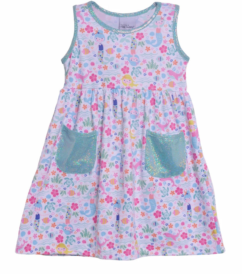 UPF 50 Dahlia Sleeveless Tee Dress With Pockets Mermaid Lagoon