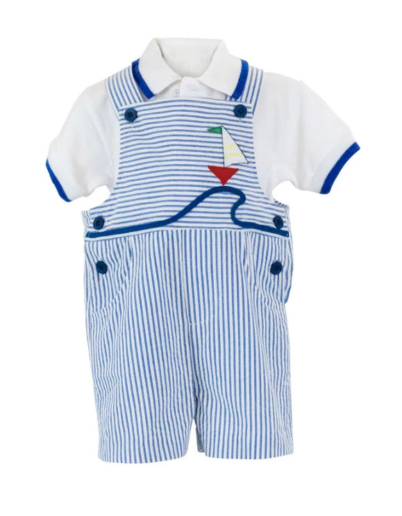 Infant Boys Seersucker Shortall With Boat