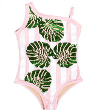 Load image into Gallery viewer, Sequin 1 Shoulder Bathing Suit Pink Palm