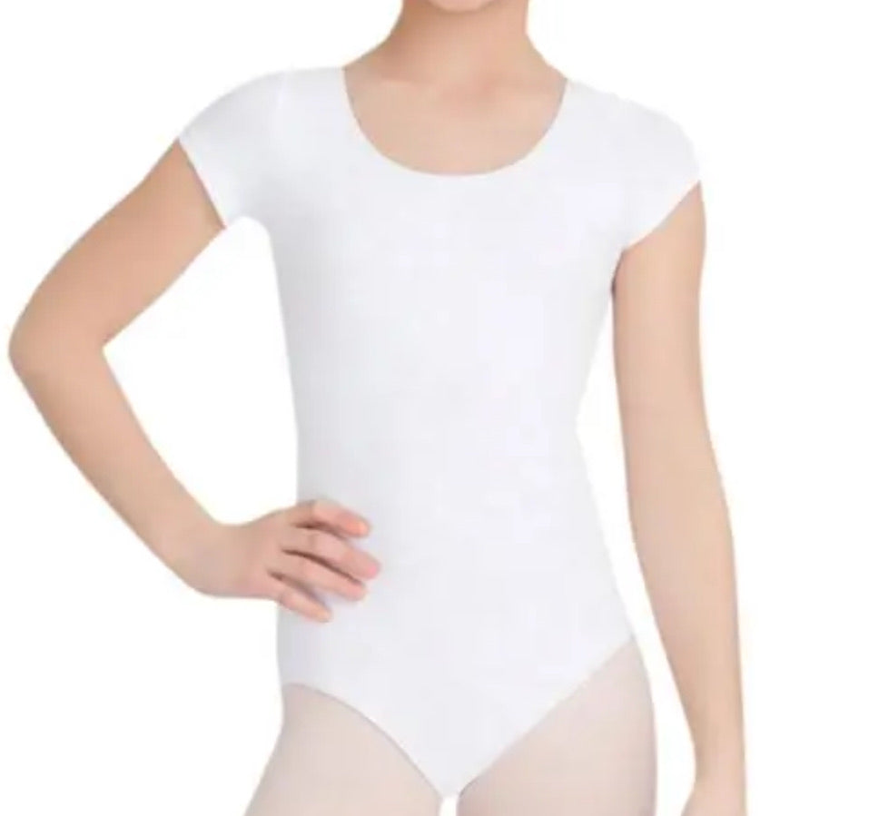 Short Sleeve Leotard White CC400C