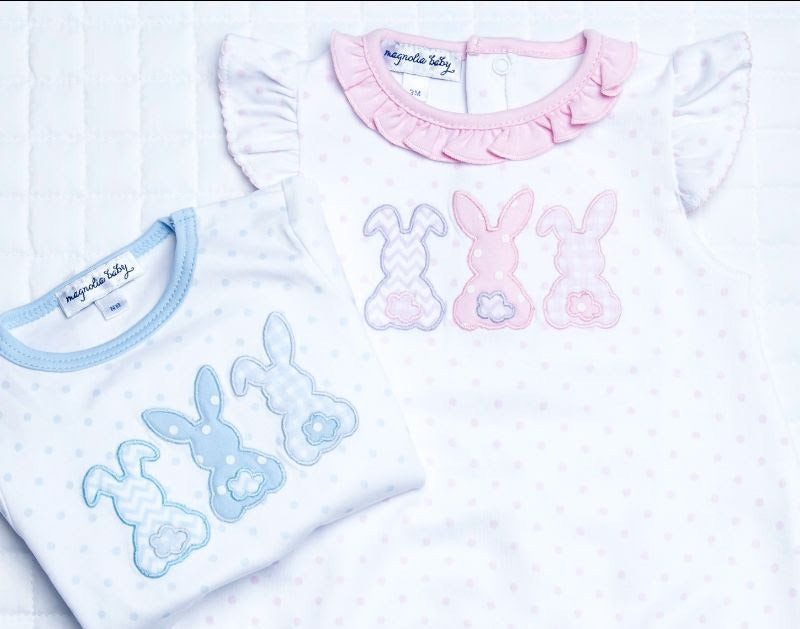 Bunny Trio Applique Lap Footie LB in blue
