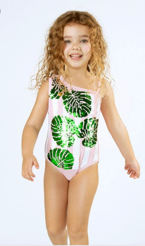Sequin 1 Shoulder Bathing Suit Pink Palm