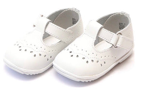 Angel Shoes Baby Birdie Leather T-Strap Stitched Mary Jane, White