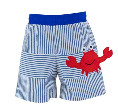 Seersucker Swim Trunk With Crab