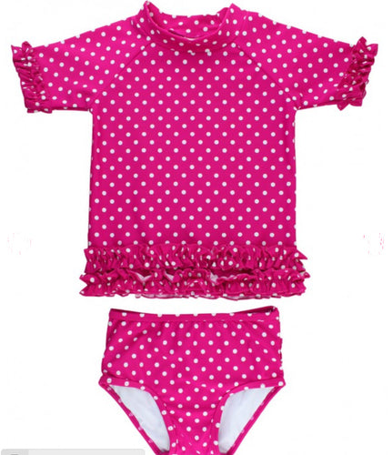 Berry Polka Dot Ruffled Rash Guard Bikini