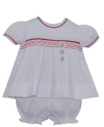 Darling Diaper Set White With Red Smocking Stocking/Present/Tree Emb