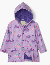 Load image into Gallery viewer, Playful Unicorns Colour Changing Raincoat