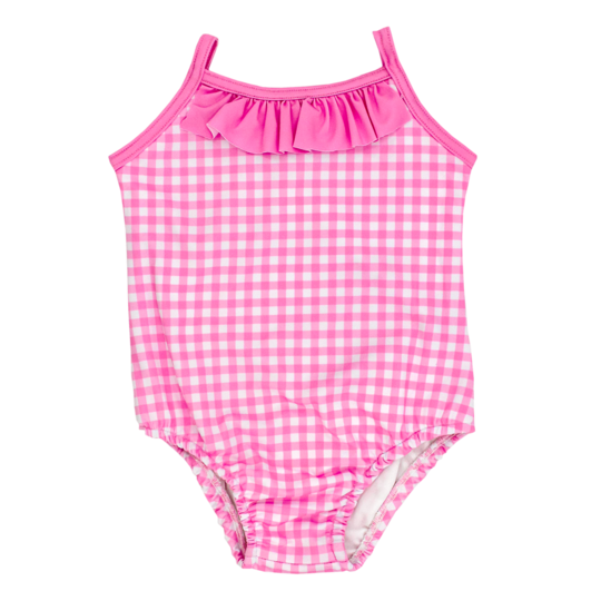 Pink Gingham Spandex Bathing Suit