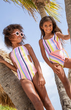 Load image into Gallery viewer, Monokini Bathing Suit Coral Stripe
