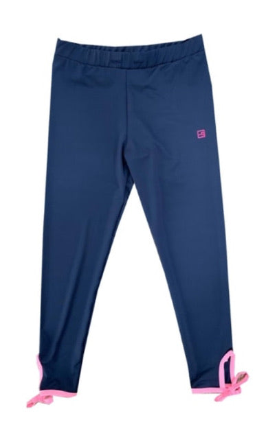 Avery Legging Navy With Pink Ankle Tie