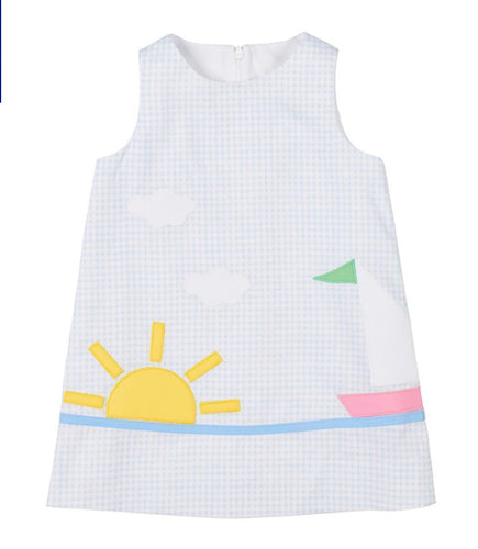 Girls Blue Check Dress With Sailboat
