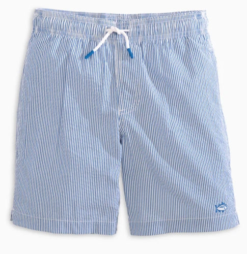 Seersucker Swim Trunk Legacy Blue