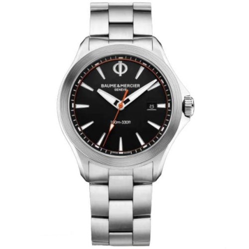 Baume & Mercier BM0A10412 Men's Clifton Silver/Black Stainless Swiss Watch