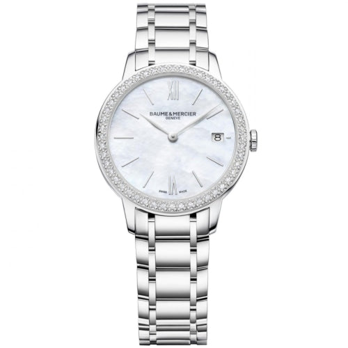 Baume & Mercier BM0A10478 Ladies Classima Silver Mother-of-Peal Diamond Swiss Watch